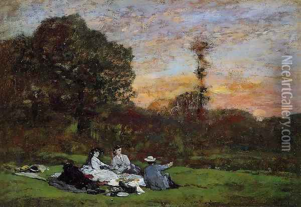 Luncheon on the Grass, the Family of Eugene Manet Oil Painting - Eugene Boudin
