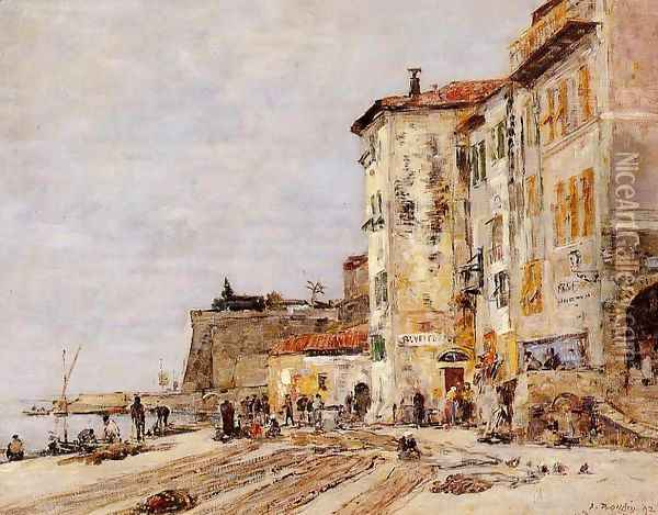 Quay at Villefranche Oil Painting - Eugene Boudin