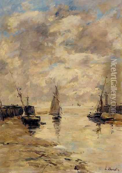 Trouville, the Jettys, Low Tide VIII Oil Painting - Eugene Boudin