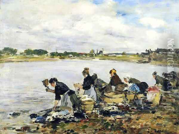 Laundresses on the Banks of the Touques Oil Painting - Eugene Boudin
