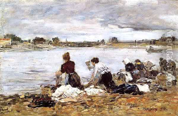 Laundresses on the Banks of the Touques III Oil Painting - Eugene Boudin