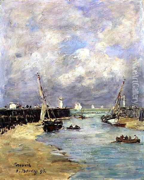 Low Tide at Trouville 1895 Oil Painting - Eugene Boudin
