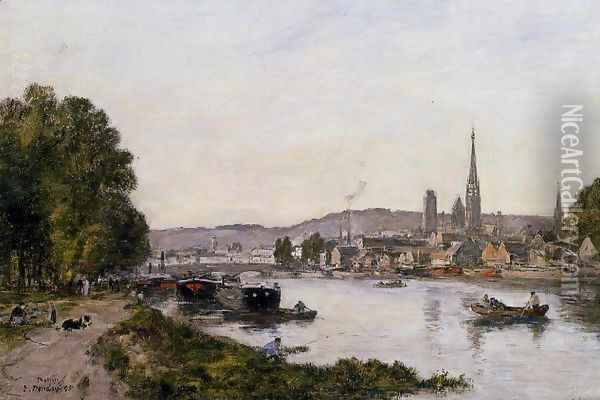Rouen, View over the River Seine Oil Painting - Eugene Boudin