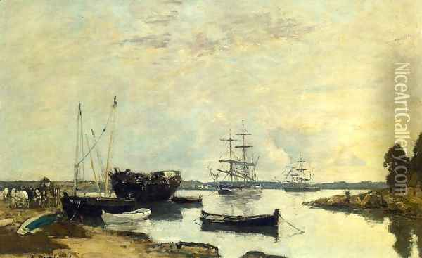 Three Masted Ship in the Harbor Oil Painting - Eugene Boudin