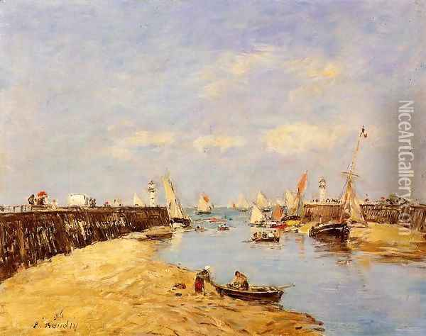 Trouville, the Jettys, Low Tide VI Oil Painting - Eugene Boudin