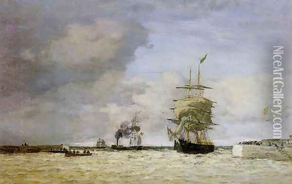 Le Havre, Entrance to the Port Oil Painting - Eugene Boudin