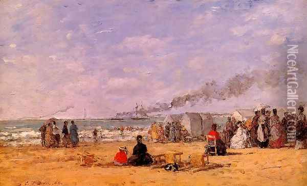 The Beach at Trouville IV Oil Painting - Eugene Boudin