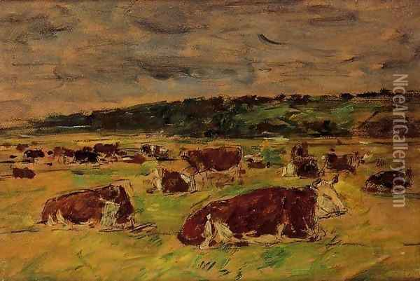Cows in the Pasture I Oil Painting - Eugene Boudin