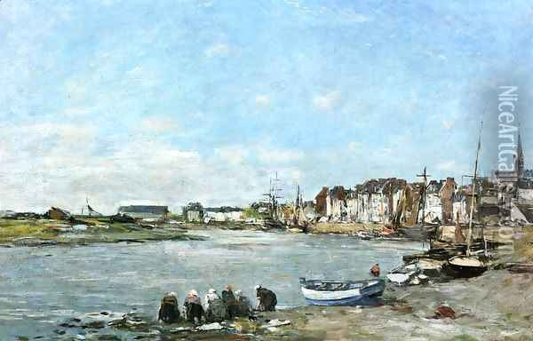 Laundresses on the Banks of the Port of Trouville Oil Painting - Eugene Boudin