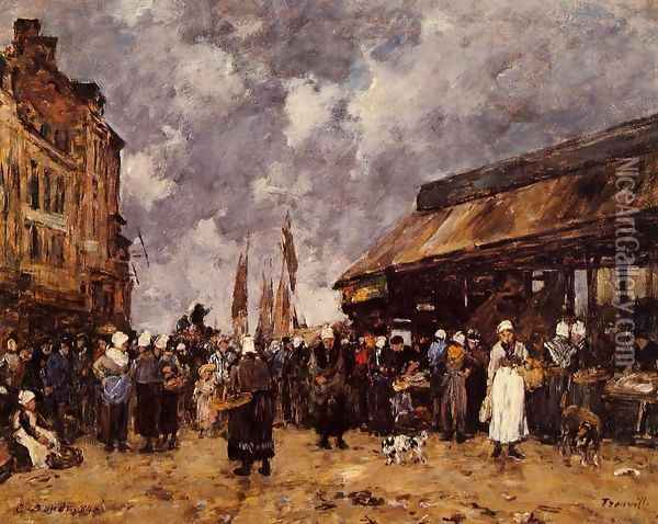 Trouville, the Fish Market Oil Painting - Eugene Boudin