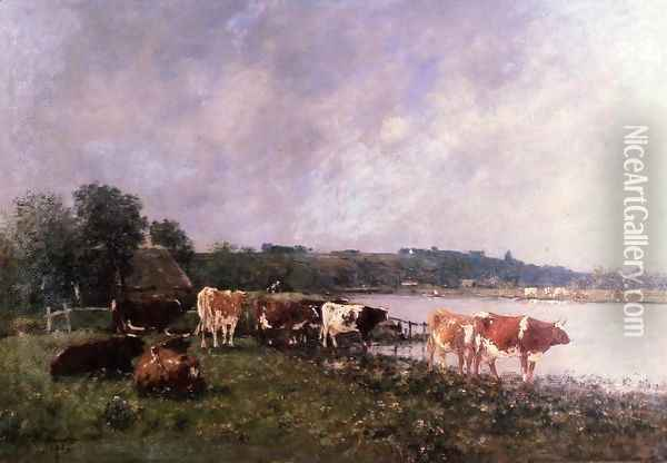 Cows on the Riverbanks of the Touques Oil Painting - Eugene Boudin