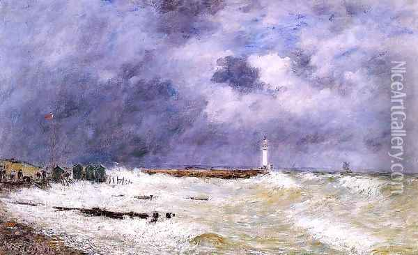 Le Havre, Heavy Winds off of Frascati Oil Painting - Eugene Boudin