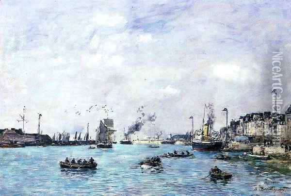 Le Havre, The Outer Harbor I Oil Painting - Eugene Boudin