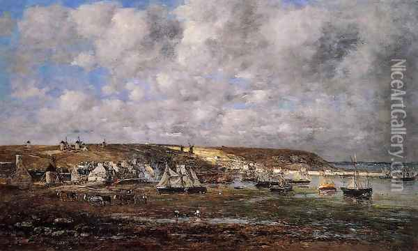Camaret, Low Tide Oil Painting - Eugene Boudin