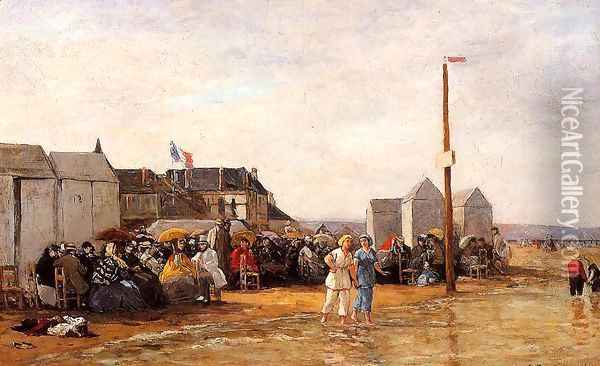 The Bathing Hour at Trouville Oil Painting - Eugene Boudin