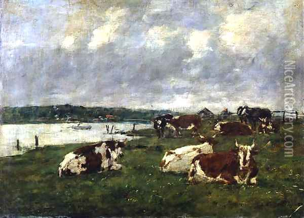 The Valley of the Touques 1887 Oil Painting - Eugene Boudin
