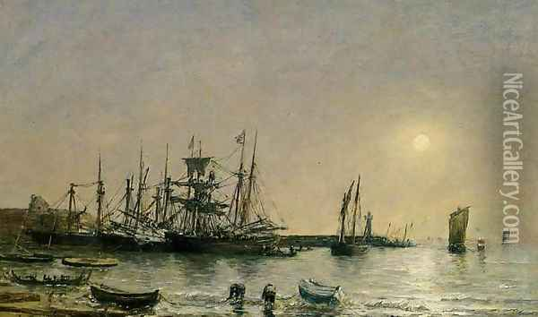 Portrieux, Boats at Anchor in Port Oil Painting - Eugene Boudin