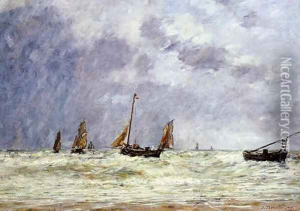 Berck, the Departure of the Boats Oil Painting - Eugene Boudin