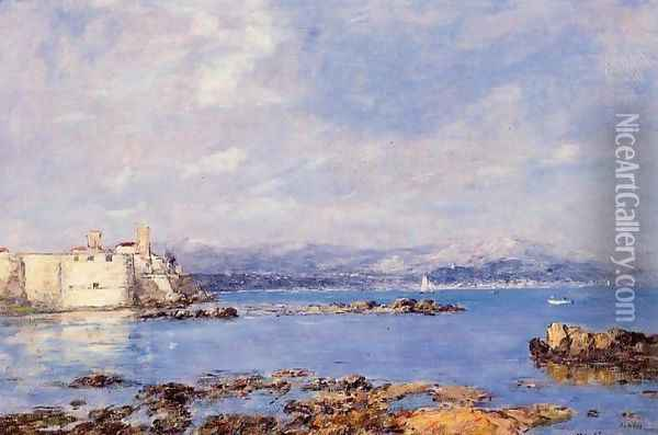 The Rocks of l'Ilette and the Fortifications Oil Painting - Eugene Boudin