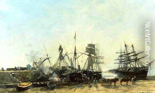 Portrieux, the Port at Low Tide, Unloading Fish Oil Painting - Eugene Boudin