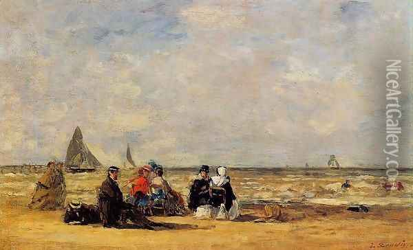 The Beach at Trouville III Oil Painting - Eugene Boudin