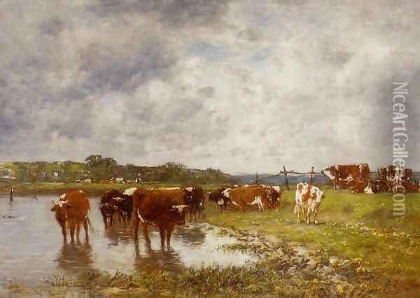 Cows in a Meadow on the Banks of the Toques Oil Painting - Eugene Boudin
