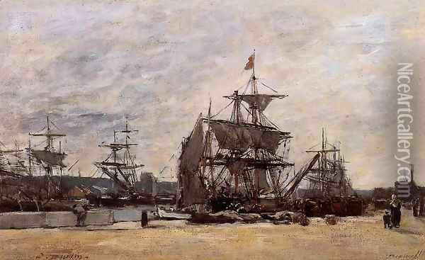 Deauville, Docked Boats Oil Painting - Eugene Boudin