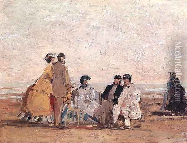 On the Beach at Trouville c.1865 Oil Painting - Eugene Boudin