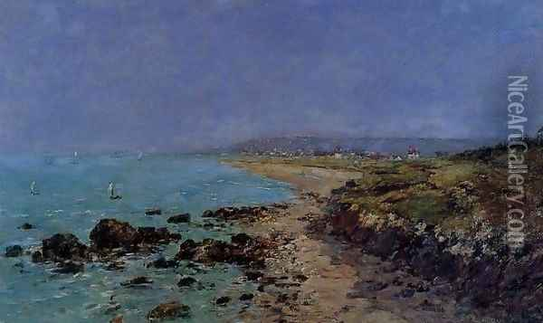 Douarnenez, the Shore and the Bay Oil Painting - Eugene Boudin