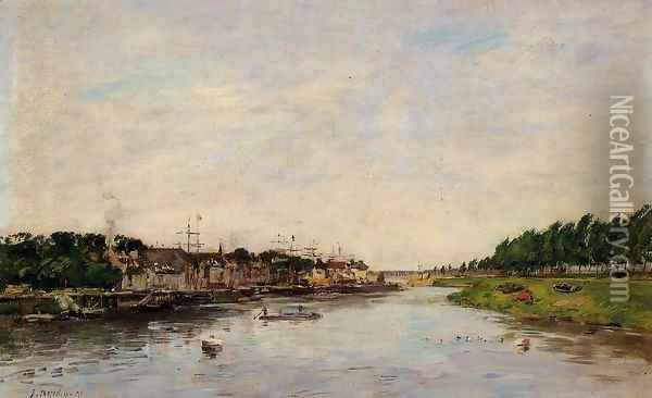 Entrance to the Port of Saint-Valery-sur-Somme Oil Painting - Eugene Boudin