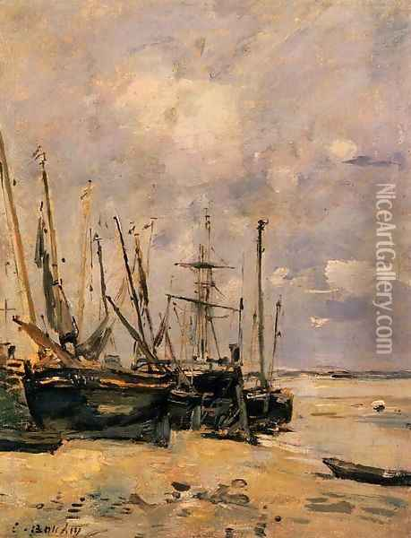 Boats at the Beach at Low Tide Oil Painting - Eugene Boudin