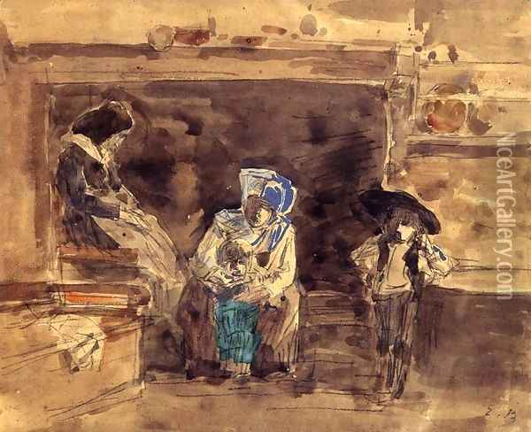 Breton Family by the Fireplace Oil Painting - Eugene Boudin