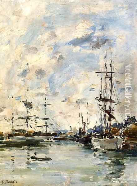 Deauville, the Harbor X Oil Painting - Eugene Boudin