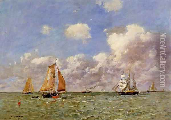Fishing Boats at Sea Oil Painting - Eugene Boudin