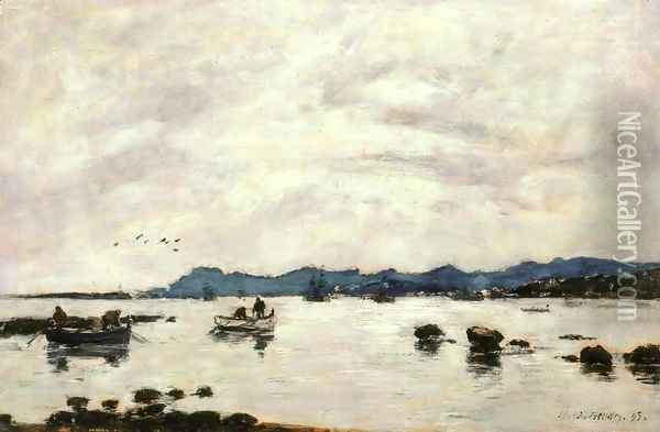 The Bay and the Mountains of L'Esterel, Golfe-Juan Oil Painting - Eugene Boudin