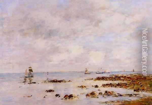Low Tide at Saint-Vaast-la-Hougue Oil Painting - Eugene Boudin