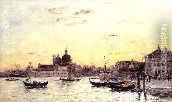 Venice, The Mole at the Entrance to the Grand Canal and the Salute Oil Painting - Eugene Boudin
