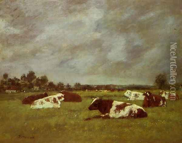 Cows in a Meadow, Morning Effect Oil Painting - Eugene Boudin