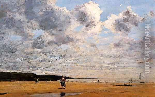 Deauville, Low Tide I Oil Painting - Eugene Boudin