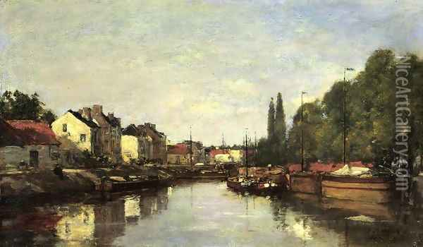 Brussels, the Louvain Canal Oil Painting - Eugene Boudin