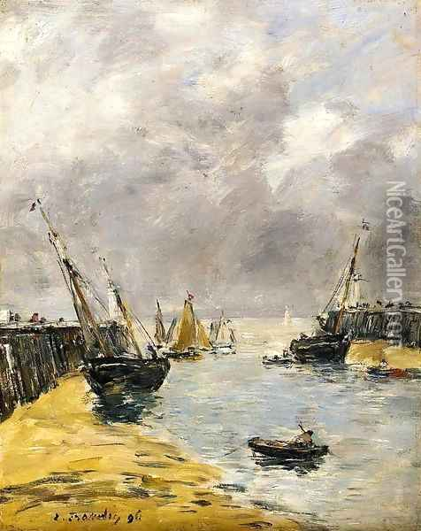 The Jetties, Low Tide, Trouville I Oil Painting - Eugene Boudin