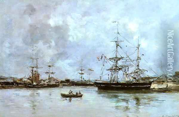 The Port of Deauville Oil Painting - Eugene Boudin
