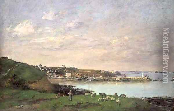 View at Saint-Quay-Portriaux Oil Painting - Eugene Boudin