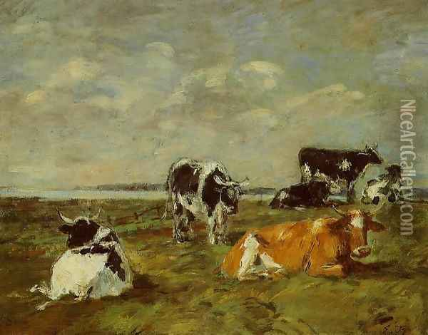 Cows near the Sea Oil Painting - Eugene Boudin