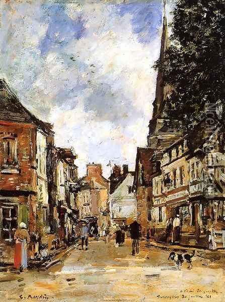 Fervaques, a Village Street Oil Painting - Eugene Boudin