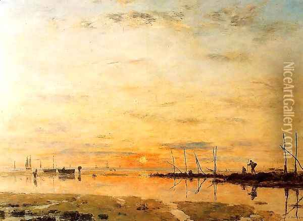 Le Havre, Sunset at Low Tide Oil Painting - Eugene Boudin