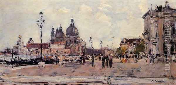 Pier in Venice Oil Painting - Eugene Boudin