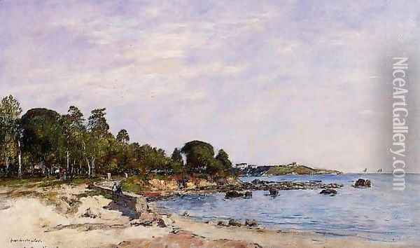 Juan-les-Pins, the Bay and the Shore Oil Painting - Eugene Boudin