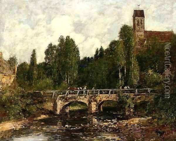 Saint-Cenery, the Church and the Bridge Oil Painting - Eugene Boudin