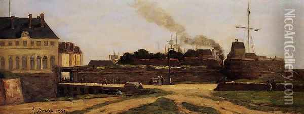 Le Havre, the Town Hotel and the Francois I Tower Oil Painting - Eugene Boudin